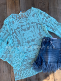 Mint Lace Overlay Top