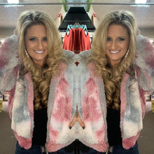 Load image into Gallery viewer, Tie Dye Sherpa Zip Front Hoodie - Gray/Pink