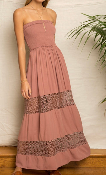 Strapless Mauve Maxi Dress