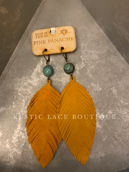 Pink Panache Mustard & Turquoise Earrings
