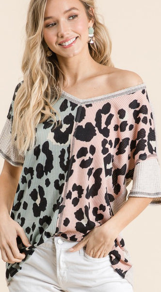 Waffle Knit Leopard Crazy Top