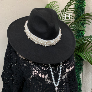 Pearl Band Wide Brim Panama Hat - Black