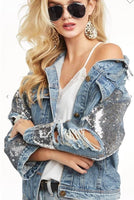 Distressed Sequin Denim Jacket