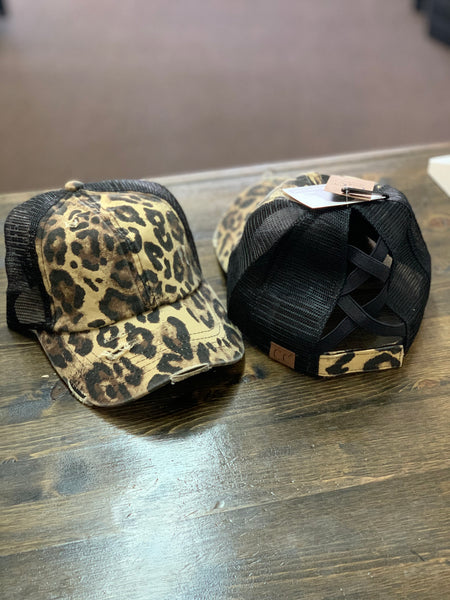 CC Criss Cross Pony Hats - Leopard