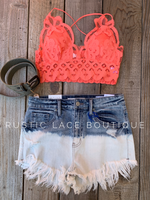 Scalloped Lace Bralette - Coral