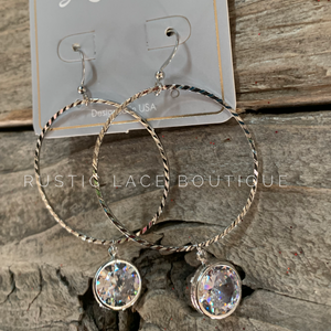 Textured Hoops With Crystal Dangle Charm - Silver