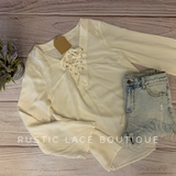 Cream Lace Up Top