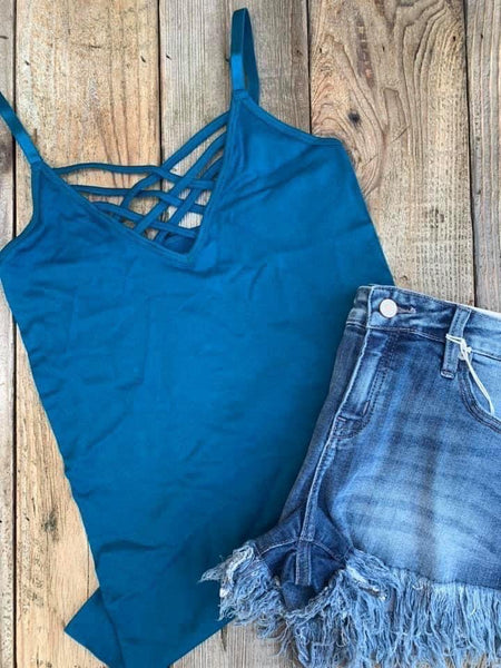 Caged Cami - Teal