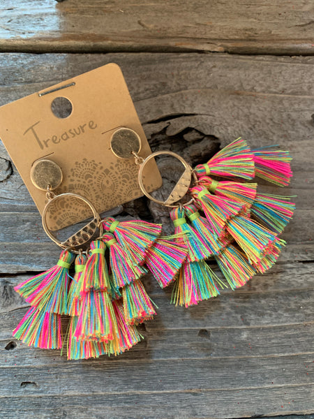 Neon Colored Fringe Earrings