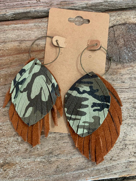 Camo & Fringe Leather Leaf Stacked Earrings