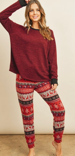 2-Piece Fleece Bottoms Lounge Set