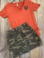 Molly Camo Button Up Skirt