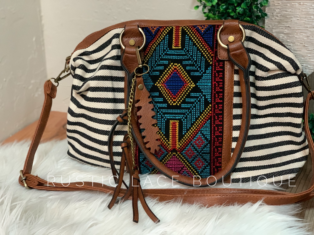 Embroidered Striped Handbag