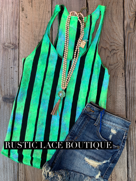90's Kid Tie Tank - Blue/Green