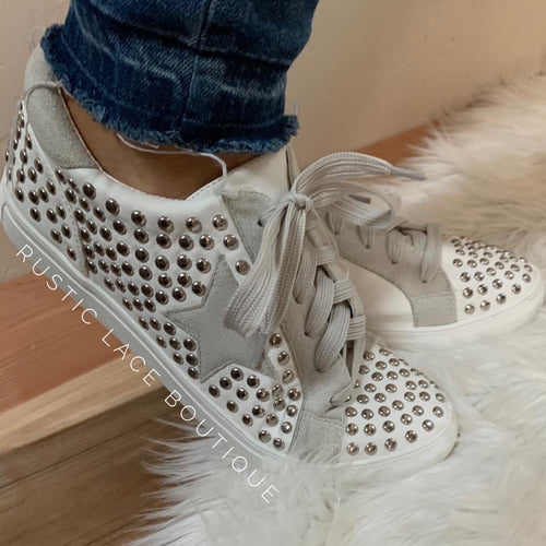 Studded Star Sneakers - White/Gray