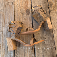Studded Heel - Tan