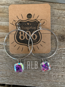 Rhinestone Hoops - Silver With AB Dangle