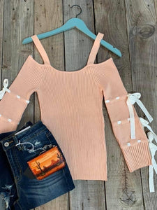 Cold Shoulder Bow Sleeve Peach Top