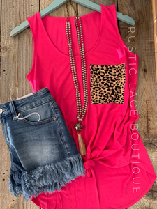Leopard Pocket Tank - Hot Pink