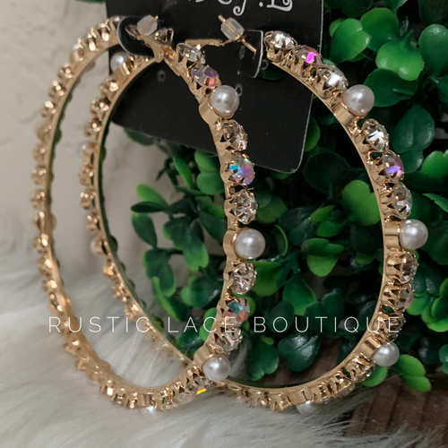 AB & Pearl Gold Hoops