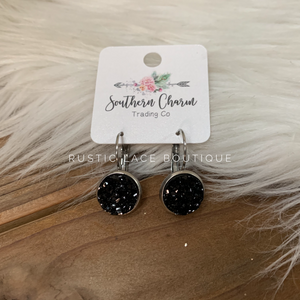 Druzy Dangle Earrings - Black/Silver