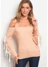 Load image into Gallery viewer, Cold Shoulder Bow Sleeve Peach Top