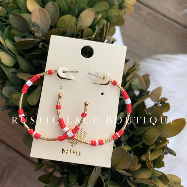 Lightweight Incomplete Hoop Earrings - Coral
