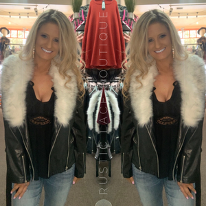 Faux Leather Removable Fur Collar Jacket