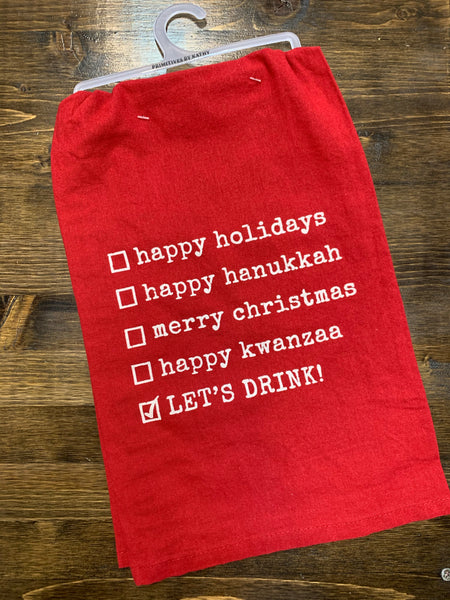 Let's Drink Holiday Tea Towel