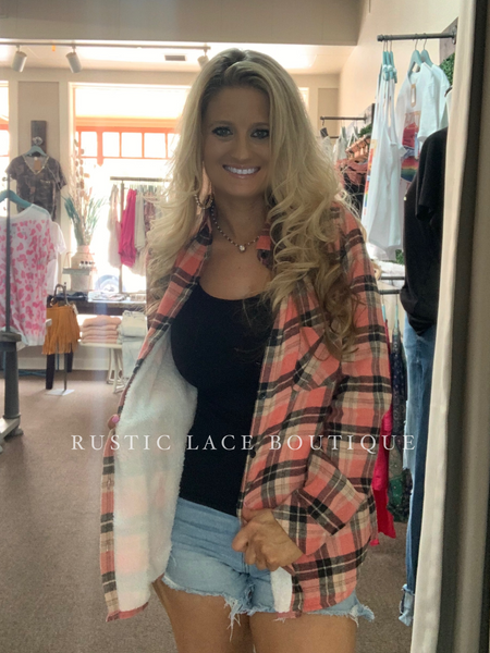 Coral Plaid Sherpa Button Up Top