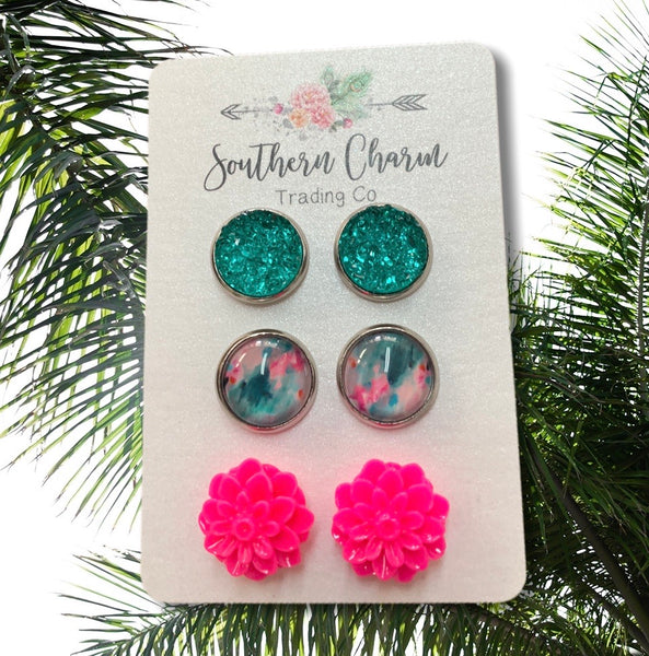 3-Pack Druzy & Tie Dye Stud Earrings