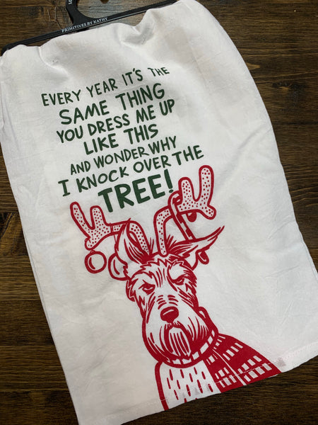 Every Year I Knock Over the Tree Holiday Tea Towel