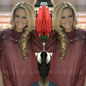 Crochet Accented Long Sleeve - Wine