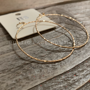 Hammered Hoop Earrings W/Fish Hoop - Gold