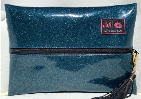 Glitter Peacock Makeup Junkie Bag