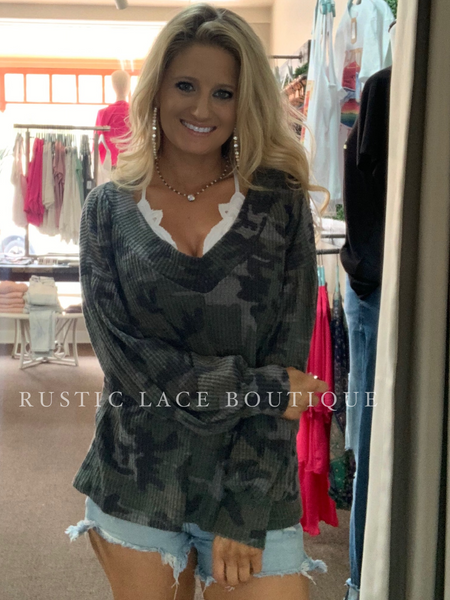 Camo V-Neck Waffle Knit Long Sleeve Top