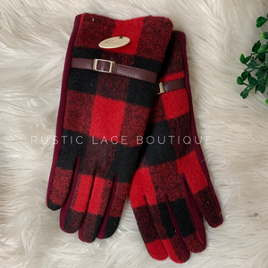 Red Buffalo Plaid Smart Touch Gloves