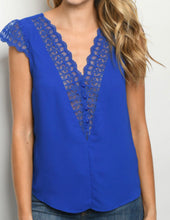 Load image into Gallery viewer, Lace Accented Royal Blue Blouse