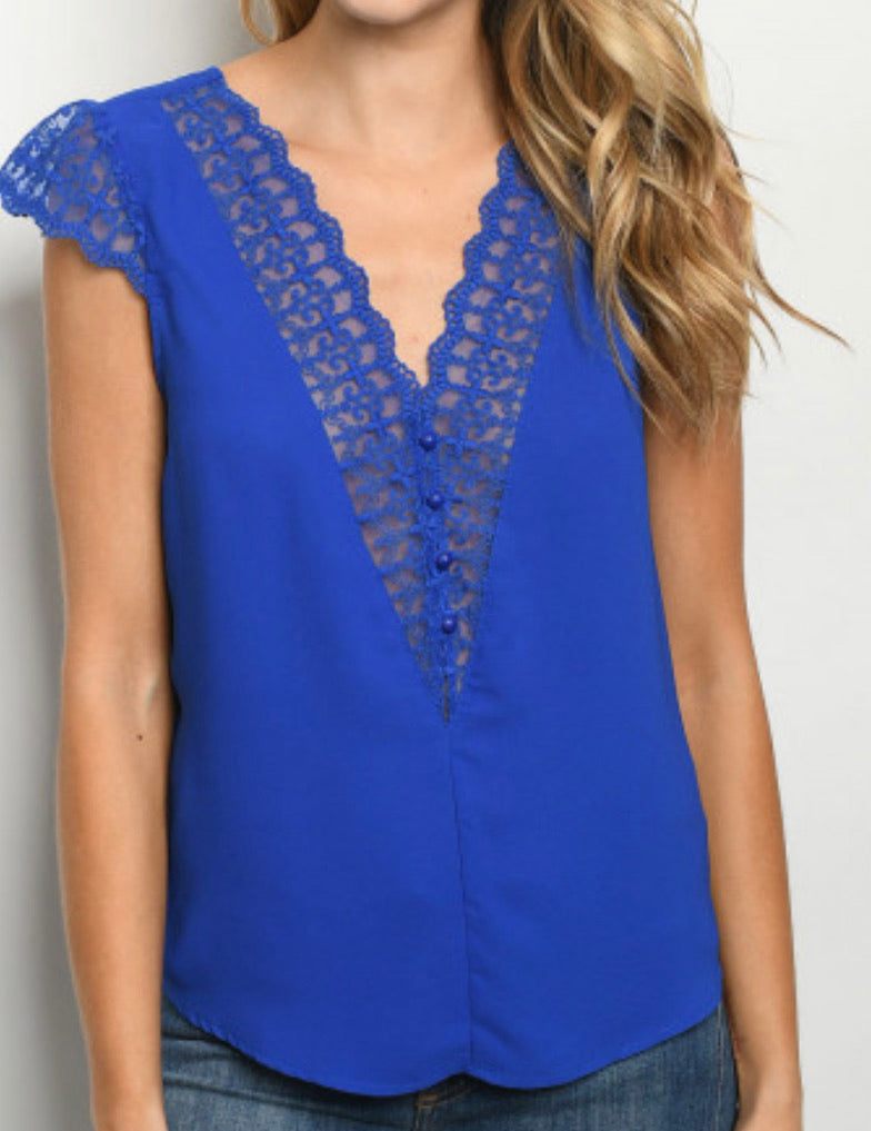 Lace Accented Royal Blue Blouse