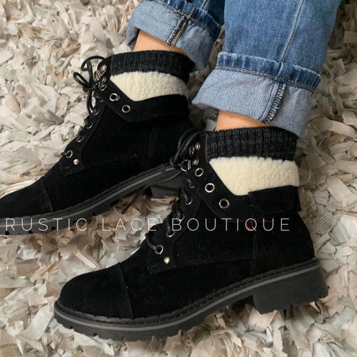 Faux Fur Trimmed Booties