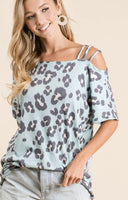 Leopard Triple Strap Top - Blue