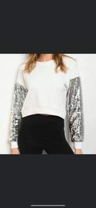 Sequin Sleeve Crop Top