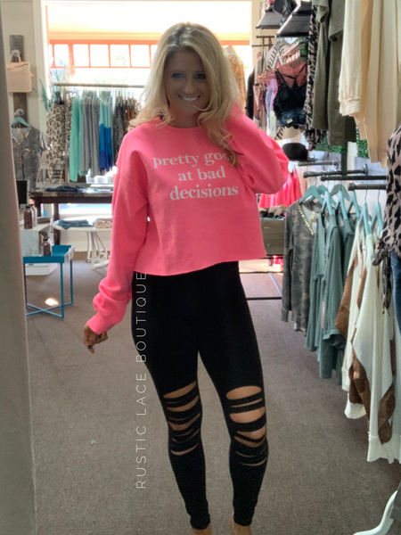 Bad Decisions Neon Pink Crop Sweatshirt