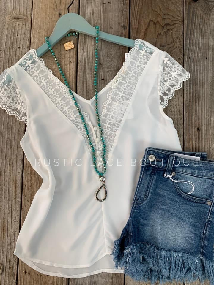 Lace Accented White Blouse