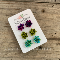 Succulent Trio Earring Set