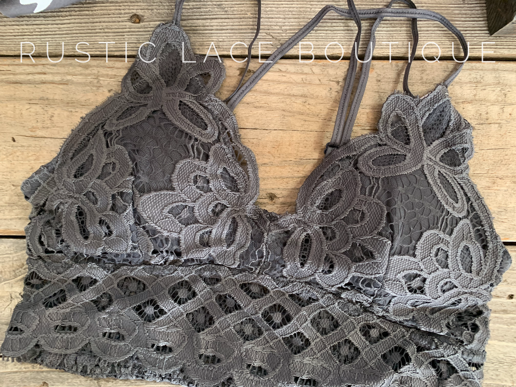 Scalloped Lace Bralette - Charcoal