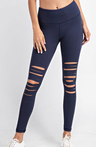 Distressed Leggings - Navy