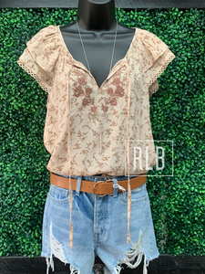 Floral Taupe Embroidered Linen Top