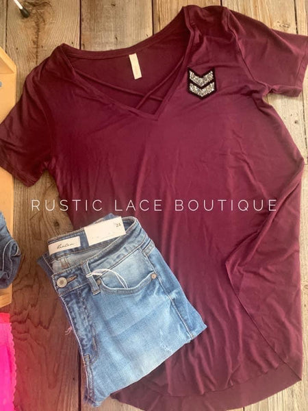 Chevron Slate Plum Criss-Cross Tee