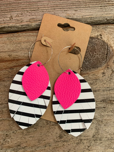 Striped Stacked Earrings W/Pink Accent